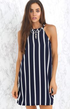 Flipside Dress Navy Double Stripe | Beginning Boutique