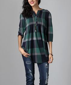 Look at this #zulilyfind! Green Plaid Notch Neck Pin Tuck Tunic by Reborn Collection #zulilyfinds