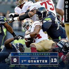 #GoHawks  #Repost @seahawks with @repostapp  Defense stifling 49ers to open the game. Meanwhile offense is rolling.  #SFvsSEA #GoHawks