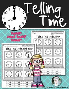 Time: Telling the Hour & Half Hour for Kindergarten and First Grade. 2 printables. Print and Go! $
