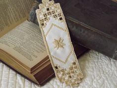Hardanger  Embroidery Bookmark by ThisAndThat4UAndMe on Etsy, $10.00