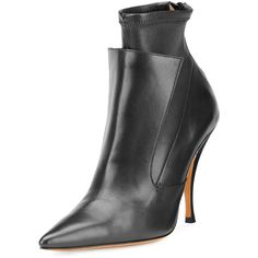 Givenchy Lux Leather Layered Ankle Boot (17.300 ARS) ❤ liked on Polyvore featuring shoes, boots, ankle booties, black, leather ankle boots, black boots, black bootie boots, pointed toe booties and black leather boots