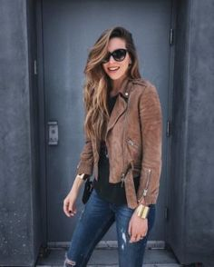 What to Wear This Weekend: Brown Suede Moto Jacket, Distressed Jeans, Cuffs, Cat-Eye Sunglasses Leather Jacket Outfits, Suede Moto Jacket, Brown Jacket Outfit, Brown Suede Jacket, Jacket Jeans, Brown Leather, Leather Jackets, Blank Nyc Suede Jacket, Brown Jeans