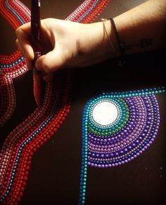 work in progress - abstract dot-art painting inspired by Aboriginal art