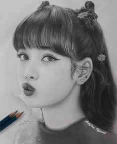 Pink Drawing, Girl Drawing Sketches, Art Drawings Sketches Simple, Pencil Portrait Drawing, Realistic Pencil Drawings, Pencil Art Drawings, Kpop Drawings, Anime Girl Drawings, Drawings Pinterest