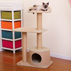 The PetPals Piller, 3 Tier Condo with Rest Jute features a unique modern design, providing coiled paper rope to scratch on, a hideout condo to lounge in and a level 3 rest perch. The ne...