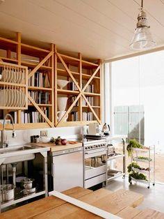 Hotels & Lodging: Babylonstoren in South Africa - Remodelista Wooden Kitchen, Kitchen Decor, Kitchen Shelves, Hotel Kitchen, Kitchen Interior Inspiration, Unfitted Kitchen, South African Design, Hotels, Open Shelving