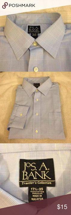 Jos A Bank Blue Plaid Dress Shirt 17.5-35 Jos A Bank Travelers Blue Glenn Plaid Dress Shirt size 17.5-35! Great condition! Please make reasonable offers and bundle! Ask questions! :) Jos. A. Bank Shirts Dress Shirts