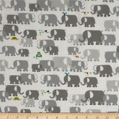 Cloud 9 Happy Drawing Organic Elephants Grey from @fabricdotcom  Designed by Ed Emberley for Cloud 9 Fabrics, this certified 100% organic cotton print fabric meets the GOTS certification; only low impact, organic dyes were used in this product. This fabric is perfect for quilts, home decor accents, craft projects and apparel. Colors include lime, orange, green, blue and shades of grey on a white background.