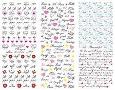 HOT232-234 San Valentino Speciale 3 IN 1 Trasferimento di Acqua Della Decalcomania Degli Autoadesivi Del Chiodo Punte di arte Romance Lettera I Love You 3 Fogli In Un pagina