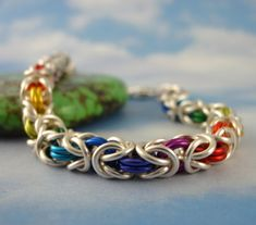 Silver Rainbow Bracelet - Beyond Basic Byzantine-The Bright Side of Chainemaille-MTO from Etsy.com
