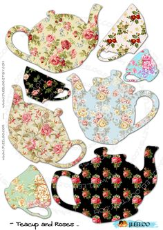 teacup teapot collage sheet