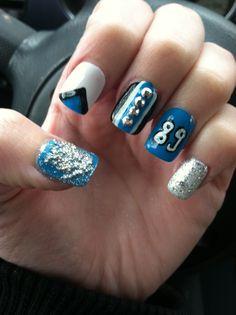 NFL Carolina Panthers Nail Art! Panther Pride! Steve Smith 89