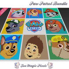 9x Paw Patrol graph crochet blanket pattern; knitting, cross stitch graph; pdf…