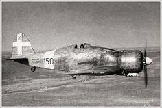 Il Fiat G.50 bis del Tenente Tullio De Prato, commandante della 150a Squadriglia, in volo sul deserto libico nel Giugno del 1940