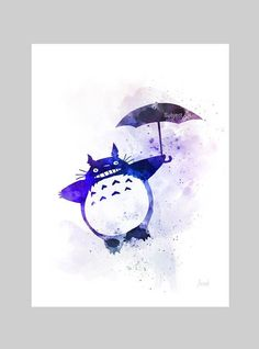 Totoro tenant parapluie inspiré ART PRINT illustration Art