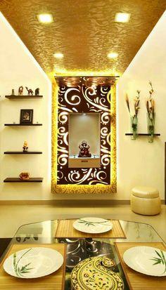 Fascinating meditation room design navigate to this site Mandir Design, Pooja Room Design, Ceiling Design, Wall Design, House Design, Flat Interior Design, Temple Design For Home, Decorative Room Dividers, Pooja Mandir