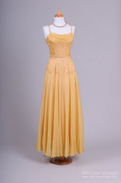 1940's Gold Silk Chiffon & Sequin Vintage Ball Gown