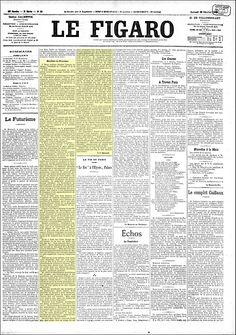 Futurismo - Publicação do manifesto do Futurismo de Filippo Marinetti no jornal Le Figaro em 1909