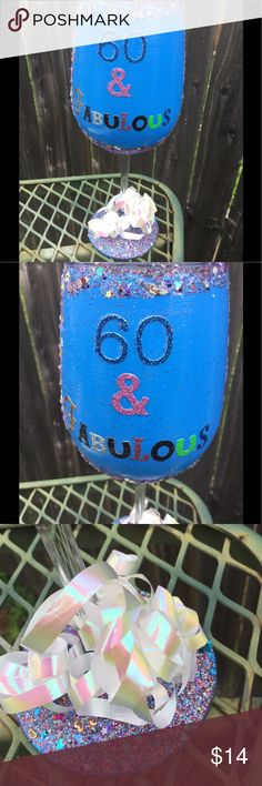 Happy 60th Birthday Sparkle Handmade Wine Glass This lovely glass is a great way to say Happy Birthday ! orders take 48 hours to process and should be received in 5-7 days in the US. ***Comes with complimentary gift bag ****Do you need more for event? Or a different age? Please leave a comment so I can make u your own listing Sassy Brands Accessories