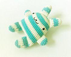super kawaii crochet bunny turquoise & cream stripes