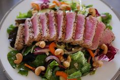 seared yellowtail and herb salad with spicy toasted sesame vinaigrette | Lipstick and Leopard Print