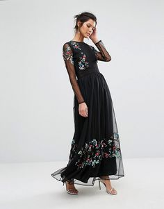 Frock and Frill | Frock and Frill Embroided Maxi Dress with Sheer Sleeves