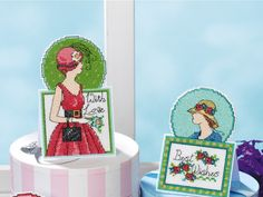Free retro lady pop-up cards! | Free Chart | Cross Stitching