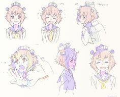 「艦これ・雪風落書き」/「kuro/円居 雄一郎」のイラスト [pixiv] Character Reference Sheet, Character Model Sheet, Character Drawing, Character Concept, Moe Manga, Manga Art, Manga Anime, Anime Art, Manga Drawing Tutorials