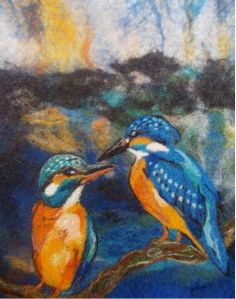 Felted Art Male and female kingfisher by InspirationFelt on Etsy, €80.00