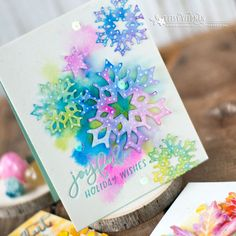 Using Watercolors + Pen Details on Diecuts. Holiday Wishes, Holiday Cards, Watercolor Christmas Cards, Pen And Watercolor, Winter Cards, Die Cutting, Snowflakes, Paper Crafts, Joyful