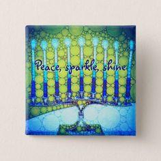Peace Sparkle Shine Blue Hanukkah Menorah Photo Pinback Button - modern style idea design custom idea