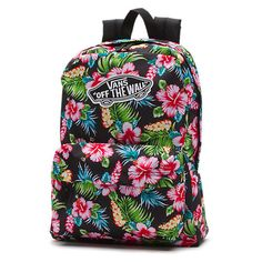 Realm Floral Backpack ($35) ❤ liked on Polyvore featuring bags, backpacks, hawaiian black, floral bag, vans bag, logo bags, backpacks bags and black backpack