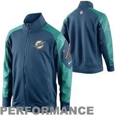 Nike Miami Dolphins Fly Speed Full Zip Performance Jacket - Aqua/Green