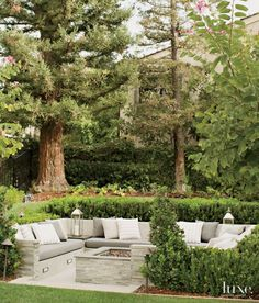 a poured-concrete seating area anchored by a fire pit. A hedge of Euonymus japonicus, encircling the built-in bench, along with oak and redwood trees, affords the space a protected feel.