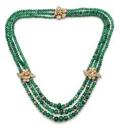 Emerald Jewelry, High Jewelry, Beaded Jewelry, Beaded Necklace, Emerald Cut Diamonds, Diamond Cuts, Handmade Jewellery, Bvlgari, Creme
