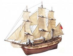 The Artesania Latina HMS Bounty wooden ship model accurately recreates the real life vessel with a high level of detail.