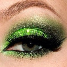 @Brandy Rennick Voss Lime green glitter eye makeup. Sugar Pill has an awesome neon lime green eyeshadow out! Oooh