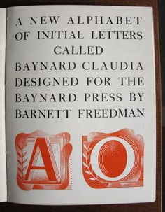 """A new alphabet"" - Claudia by Barnett Freedman for the Baynard Press, in 'Signature', 1935"