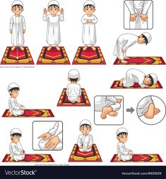 Complete Set Of Muslim Prayer Position Guide Step By Step Perform By Boy Vector Illustration Royalty Free Kliparty, Vektory A Ilustrace. Muslim Pray, Islam Muslim, Islamic Prayer, Islamic Teachings, Ablution Islam, Prayer Position, Islamic Posters, Islamic Quotes, Learn Arabic Alphabet