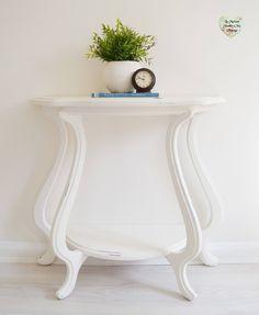 Large White Console Table with Shelf Shabby Chic Entryway, Farmhouse, Hall Table by LaMaisonShabbyChic on Etsy