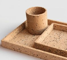 Cork, Desk Tray, Sustainable Furniture, Recycled Rubber, Eco Friendly House, Desk Organization, Desk Accessories, Terrazzo, Recycling