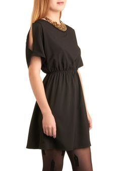 Licorice Ladder Dress - Black, Party, A-line, Short Sleeves, Backless, Mid-length, Girls Night Out