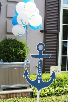 nautical party ideas; nautical welcome signage; nautical first birthday party ideas