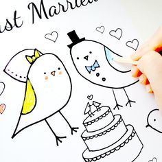 Wedding Coloring Page Just Married Love Birds Theme | PDF Instant Download for a Wedding | Sweet Bird Bride and Groom | DIY Wedding Idea