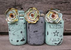 Trio of Painted Mason Jars with Vintage Map Flowers