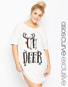 ASOS CURVE Oh Deer Christmas Sleep Tee