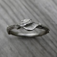 Twig Wedding Band with Leaves White Yellow or by KristinCoffin