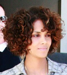 Halle Berry curly bob with color