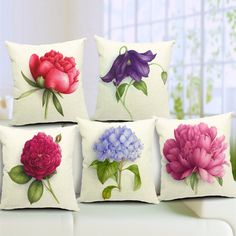 Rose Flowers Cotton Linen Throw Pillow Case Sofa Bed Car Cushion Cover Home Deco… Cheap Throw Pillow Covers, Sofa Throw Pillows, Floral Throw Pillows, Linen Pillows, Cushions On Sofa, Designer Throw Pillows, Sofa Bed, Accent Pillows, Cover Pillow